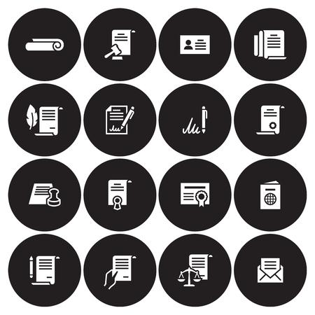 Documents Icons Set. White on a black background Illustration