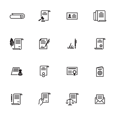 Documents Icons Set. Line, outline vector icons