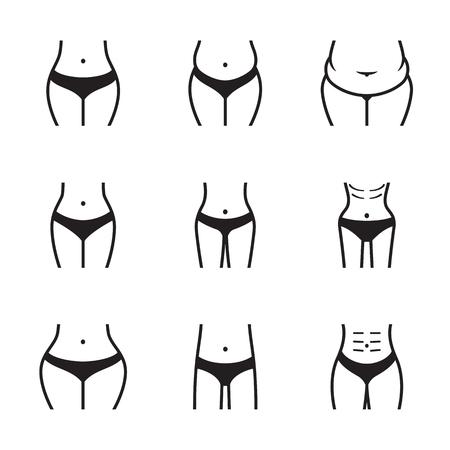 Formes du corps féminin. Ligne, contour icons set. Noir sur fond blanc Vecteurs