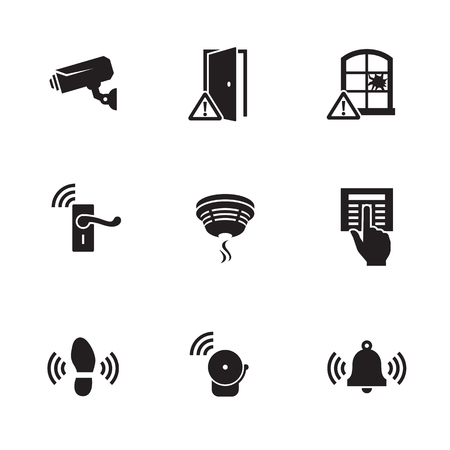 Home Security Sensors and equipment icons set. Black on a white background