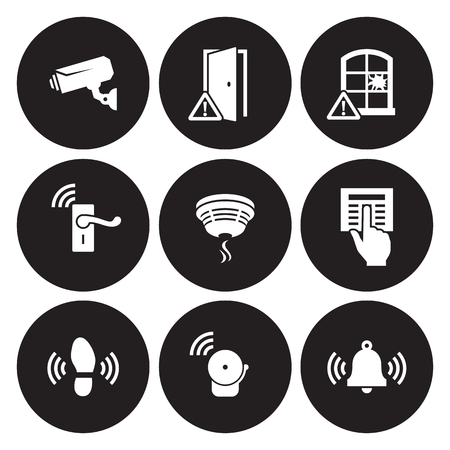 Home Security Sensors and equipment icons set. White on a black background