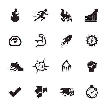 Performance Icons Set. Black on a white background