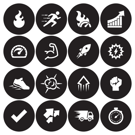 Performance Icons Set. White on a black background Stock Illustratie