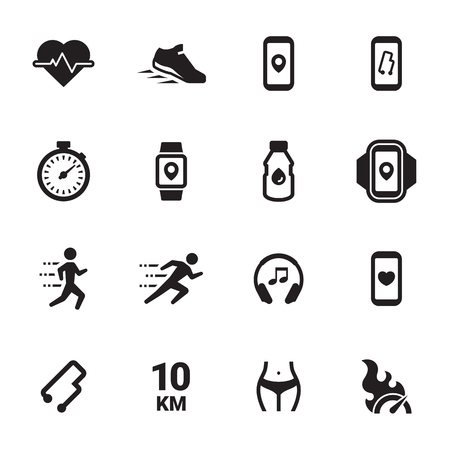 Jogging, running people icons set. Black on a white background Ilustrace
