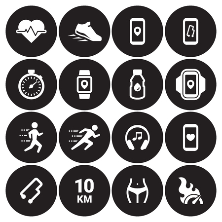 Jogging, running people icons set. white on a black background.