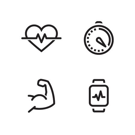 Health, sport simple icons. Line, outline black on a white backgrpund Illustration