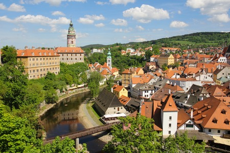 krumlov: Cesky Krumlov from the top, Cesky Krumlov, czech republic, europe Stock Photo