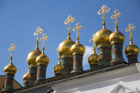 domes: Domes of the Verkhospassky Cathedral in the Moscow Kremlin, Russia