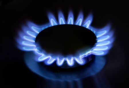 stove fire: gas stove fire on the black background