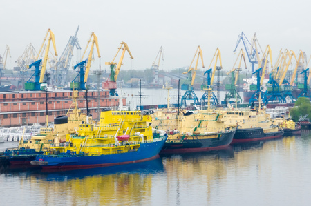 Shipping port in the Russia. Transporting industry