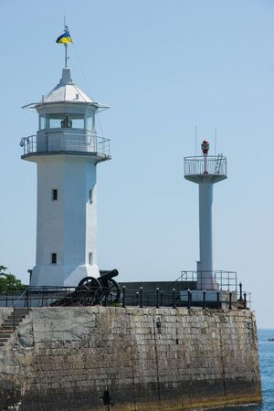 orienting: Old Port lighthouse on the Black Sea in Yalta