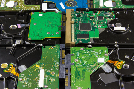 drives: multiple hard disk drives lying close background