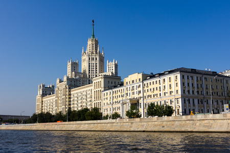 view from the water to the Kotelnicheskaya skyscraper
