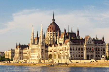 Hungarian Parliament at daytime. Budapest. One of the most beautiful buildings in the Hungarian capital. Zdjęcie Seryjne