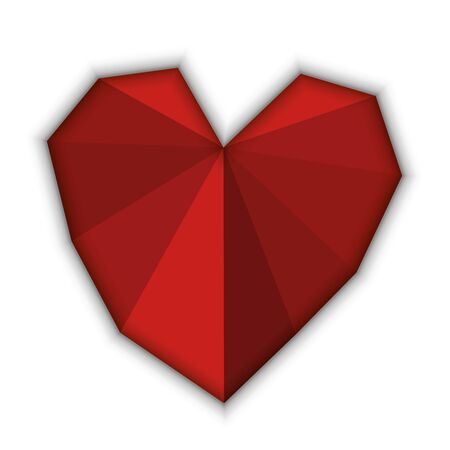 Red heart made from triangles with shade around. Vector illustration.