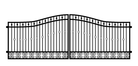 Black metal gate with forged ornaments on a white background. Vector illustration Vettoriali