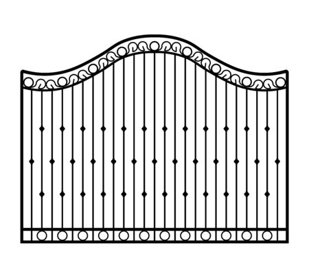Black metal gate with forged ornaments on a white background. Vector illustration