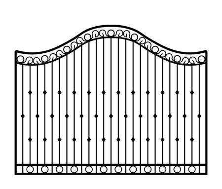Puerta de metal negro con adornos forjados sobre un fondo blanco. Ilustración vectorial