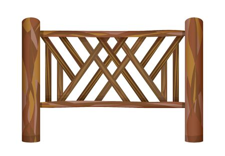 Wooden fence in village on white