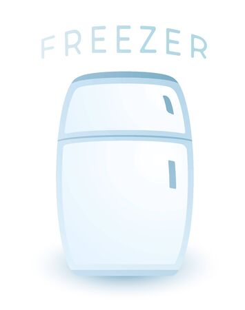 Vector Blue Fridge Refrigerator Freezer With Transparent Glass Isolated on White Background Ilustração
