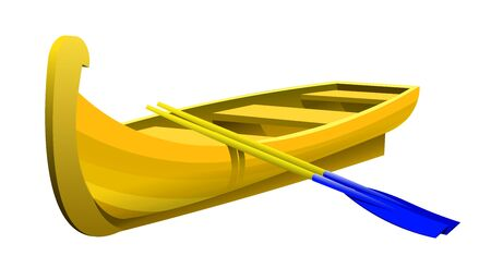 wooden boat made of yellow boards with plastic oars