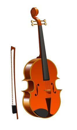 wooden violin with bow on white background