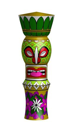 colorful statue of Tiki with pineapple and flowers pattern