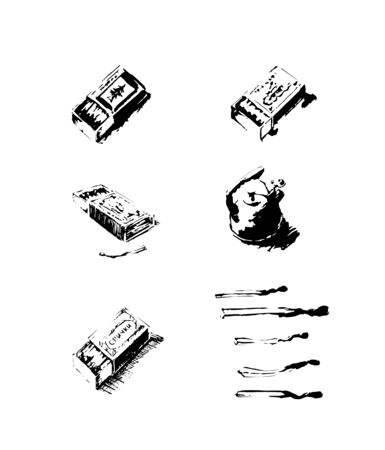 black silhouettes of kitchen items, kettle and matches  イラスト・ベクター素材