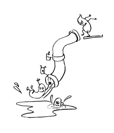 poop having fun and sliding down a sewer pipe, funny caricature, color vector illustration with black contour lines isolated on white background in hand drawn & cartoon style