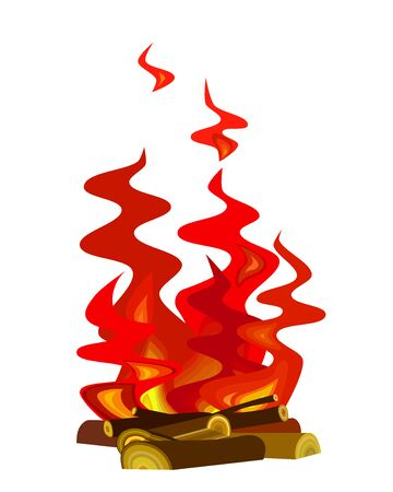 tongues of red flame on firewood Illustration