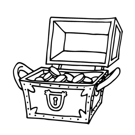 opened wooden treasure chest with golden coins, pirate trove, symbol of fortune and wealth, vector illustration with black contour lines isolated on a white background in a Doodle and hand drawn style