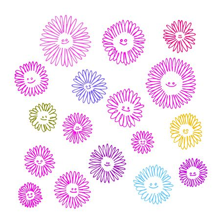 set of funny pink chamomile flowers for decoration or ornament with smiling emoticons, color vector illustration with contour lines isolated on white background in Doodle and hand drawn style