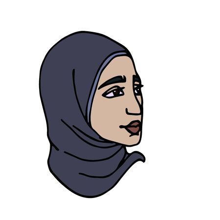 head of Eastern Muslim young cute girl in gray hijab, avatar Illustration