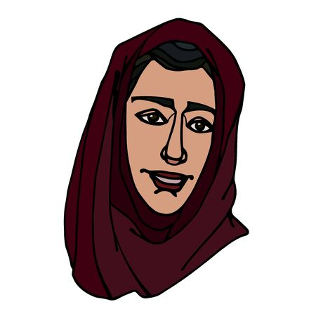 head of Eastern Muslim young cute smiling girl in red hijab, avatar Illustration