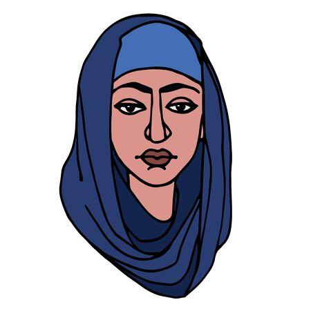 head of Eastern Muslim young cute serious girl in blue hijab