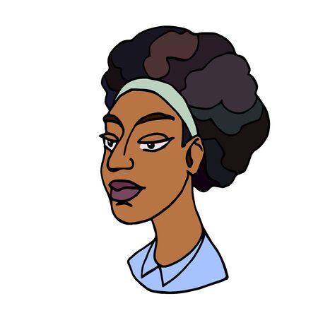 head of an african curly young cute brunette half-breed girl, avatar, color illustration with black contour lines isolated on a white background in a hand drawn and cartoon style