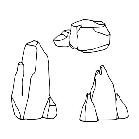 set of simple stones and rocks, landscape decoration for aquarium or Park, natural weathering, vector illustration with black contour lines isolated on white background in hand drawn and Doodle style