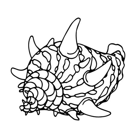 empty spotted shell with horns of a marine mollusk or hermit crab, aquarium decoration, vector illustration with black contour lines isolated on white background in Doodle and hand drawn style