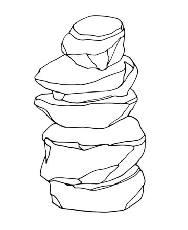 stone column of boulders, landscape design for aquarium or Park, natural weathering, vector illustration with black contour lines isolated on white background in hand drawn and Doodle style