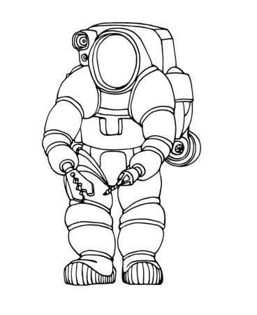 modern heavy deep water diver suit with spotlight, manipulator and jetpack, vector illustration with black contour lines isolated on white background in hand drawn and Doodle style