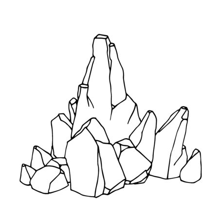 stone & a boulders as a mountain peak, landscape decoration for aquarium or Park, natural weathering, vector illustration with black contour lines isolated on white background in hand drawn style