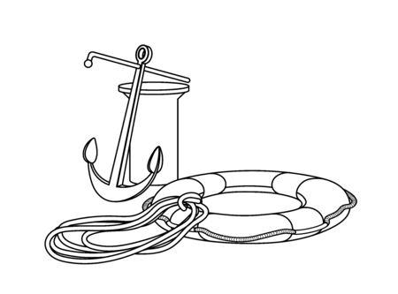 boat rigging elements for mooring Illustration