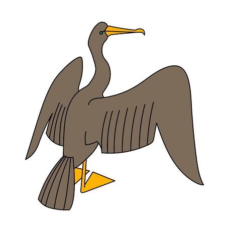 cute brown cormorant with yellow paws dries wings, decorative element