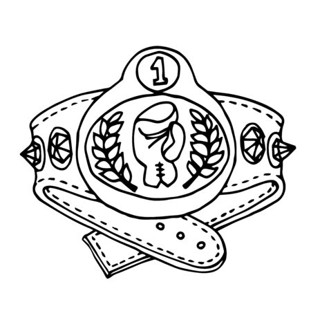 champion Boxing belt with gemstones, glove & Laurel, award for winning a fight, vector illustration with black contour lines isolated on a white background in the style of Doodle and hand drawn Illustration