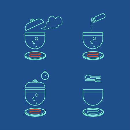 set of culinary simple icons for cooking instructions, information on the packaging of a food product, color vector illustration with contour lines isolated on blue background in flat style