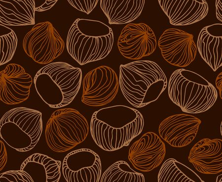 abstract seamless pattern of a set of hazelnuts & kernels, for menu design or confectionery