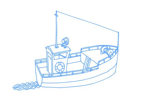 sea longboat for fishing and travel with wake of waves, color vector illustration with blue contour lines isolated on white background in a hand drawn style