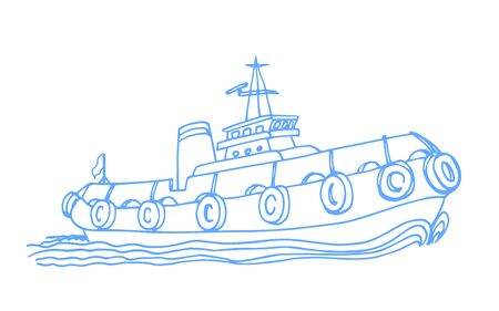 port marine tugboat, with dampers and a wake of waves Vettoriali