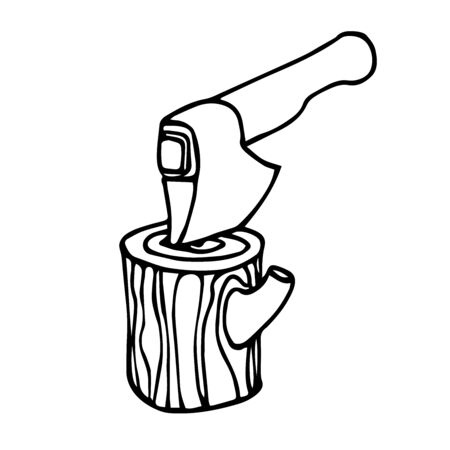 stump with an ax for chopping firewood for a village stove, vector illustration with black contour lines isolated on a white background in Doodle and hand drawn style 일러스트