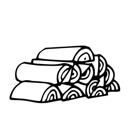 firewood stacked in a woodpile for a rustic stove, vector illustration with black contour lines isolated on a white background in Doodle and hand drawn style